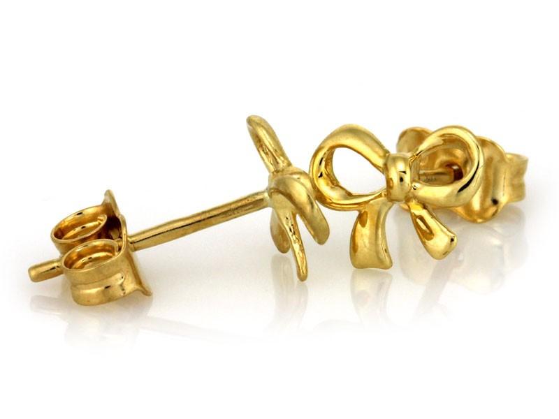 cbcc2bc15dd490 Złote kolczyki KOKARDKI na sztyft
